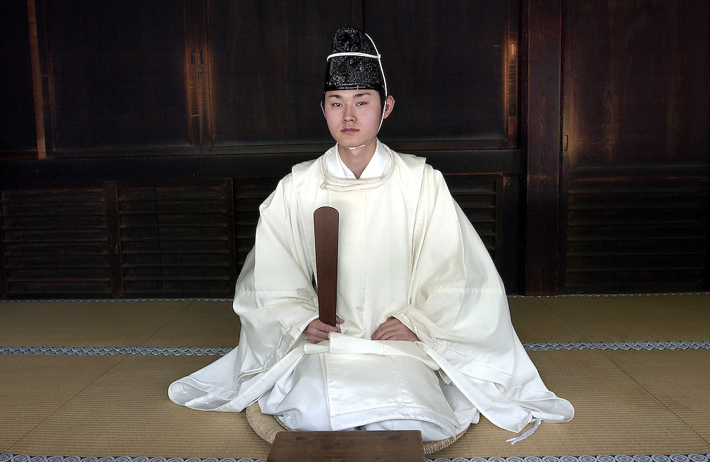 Japanese Shinto Priest at the Meiji Jingu Shrine Tokyo Japan June 2002.©David Dare Parker/AsiaWorks Photography