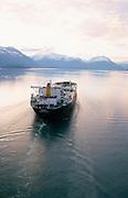 Alaska. Valdez Arm, Tanker heading for loading oil from the Trans Alaska Pipeline at the Valdez Marine Terminal.