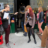 The scene outside the Dr. Who event at The Way Station Bar and Venue in Prospect Heights. Shot on March 31, 2013..Left to right ; Marsha Hinds, Alex Angler and Anna Grindrod - Feeny ..Photo Credit ; Rahav Iggy Segev/Photopass.com