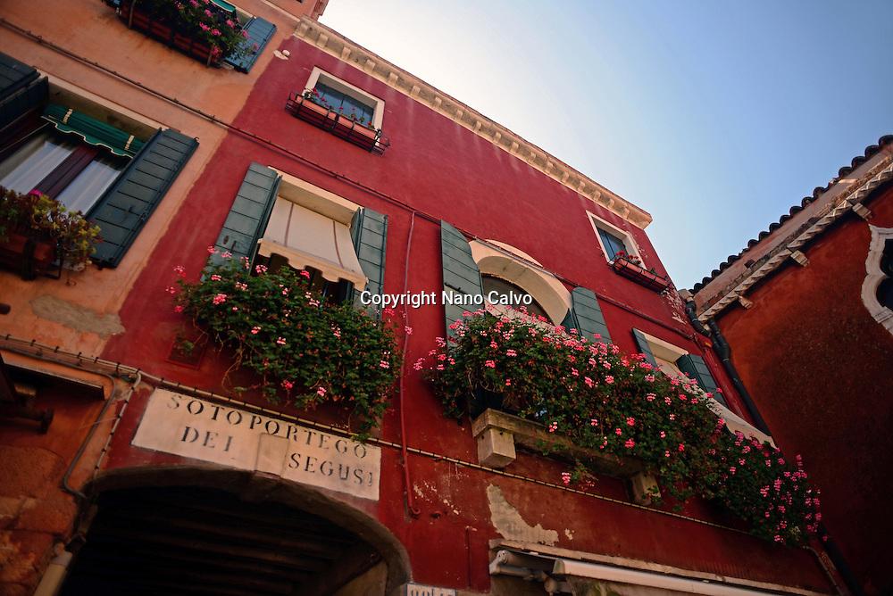 Entrance to Sotoportego dei Segusi in Murano, Venice, Italy