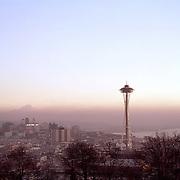 B&I26,583....WASHINGTON - 1962 photograph of Seattle's skyline, Elliott Bay and Mount Rainier from Queen Ann Hill.