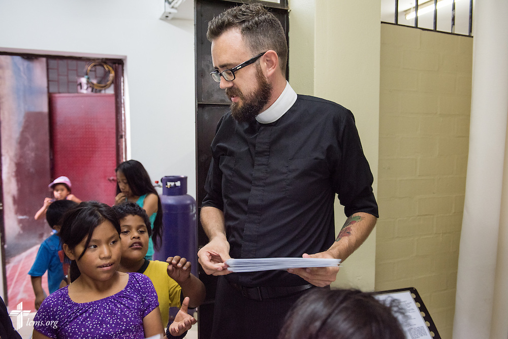 The Rev. Joshua Gale, LCMS career missionary to Peru, greets children for chapel at Castillo Fuerte on Wednesday, April 8, 2015, in La Victoria, Peru. LCMS Communications/Erik M. Lunsford