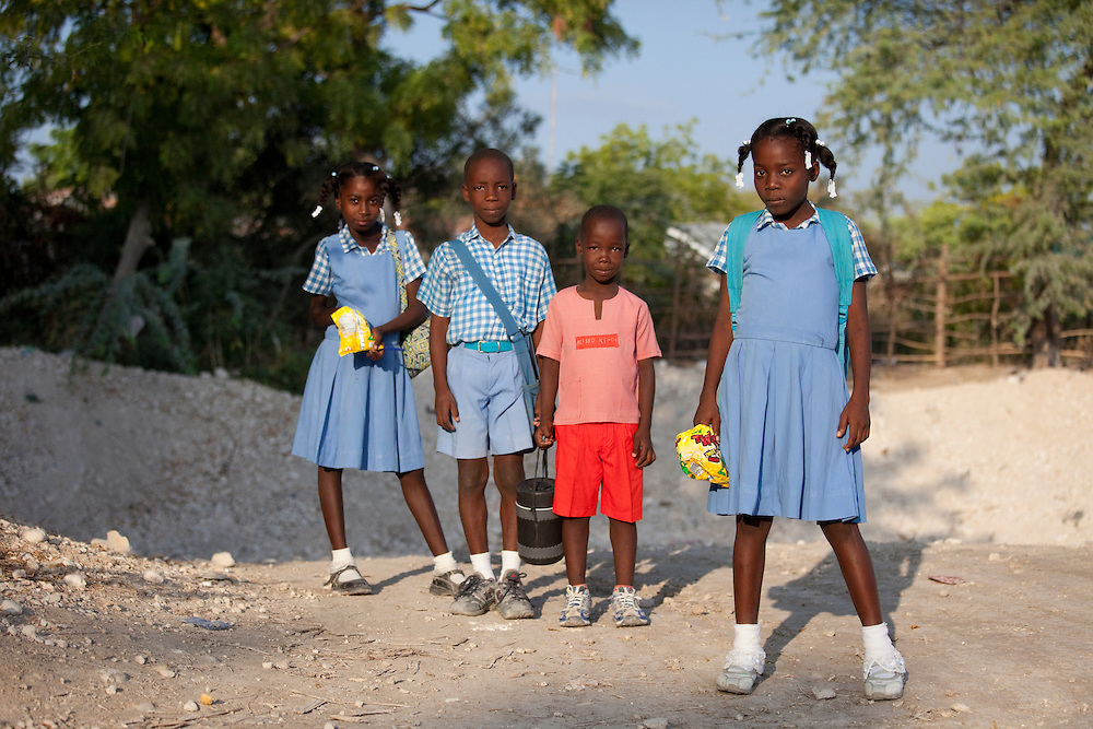 Children dressed for school in Anse a Galet, Ile de la Gonave, Haiti