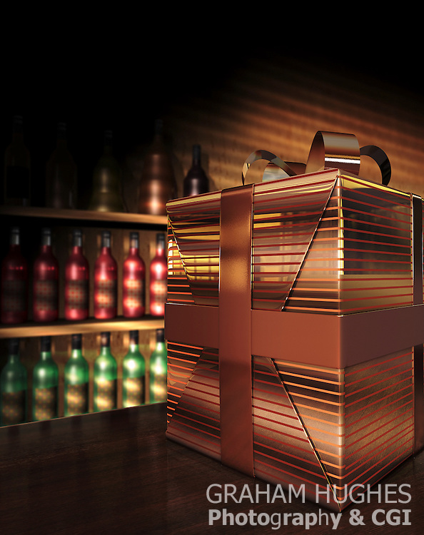Gold wrapped gift box on counter in liquor store.