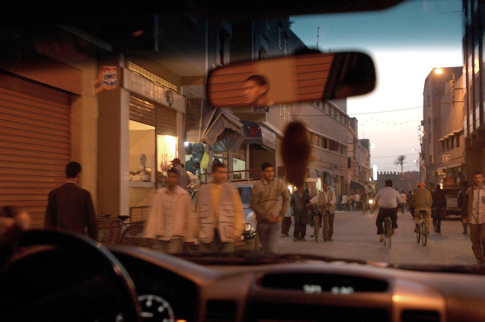 View through car window, Taroudant, Morocco