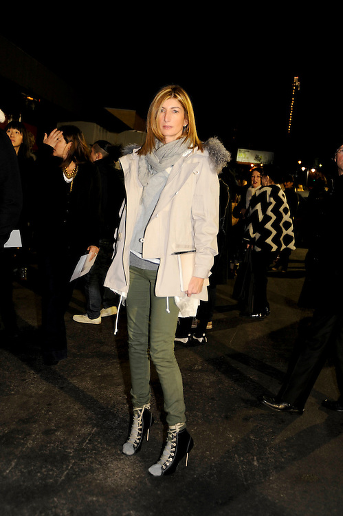Sarah Rutson of Hong Kong's Lane Crawford outside Alexander Wang's FW2010 show. Sekkai (sp?) jacket, Current Elliott pants, Manolo Blahnik shoes