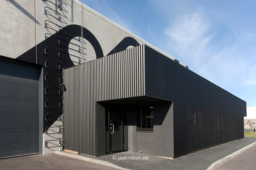 Side of modern factory building jaak nilson photostock for Factory exterior design