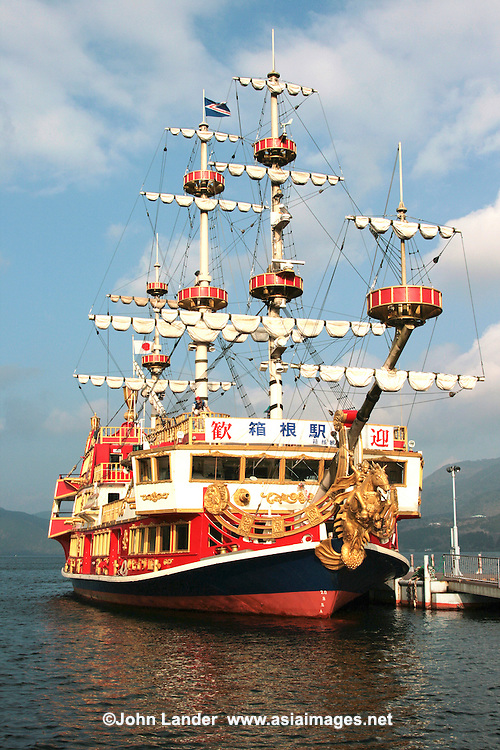 Pirate Ship on Lake Ashi- known as Ashinoko is a scenic lake in Hakone. The lake is known for its views of Mt. Fuji.  Several ferries cruise the lake, providing scenic views for passengers. One of the boats is a full-scale replica of a man-of-war pirate ship.