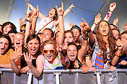 Fans soak up the atompshere as Palma Violets performs live on the NME/Radio 1 stage during day two of Reading Festival at Richfield Avenue on August 24, 2013 in Reading, England.  (Photo by Simone Joyner)
