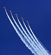 Five of the six US Navy Blue Angels practice over Lake Washington Friday.<br /> <br /> Greg Gilbert / The Seattle Times