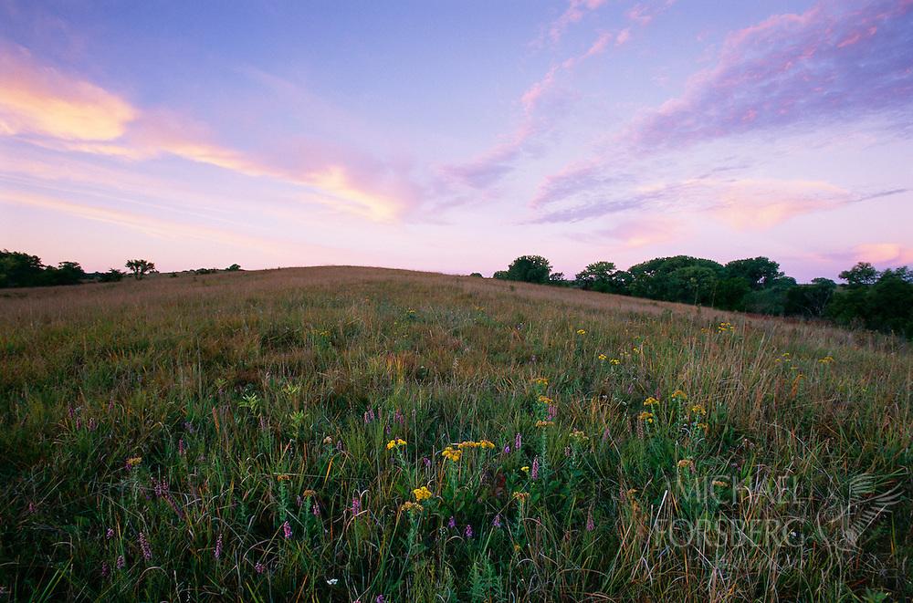 Pastel colors paint the sky and landscape.  Spring Creek Prairie, Nebraska.