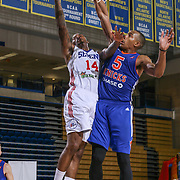Delaware 87ers Guard SEAN KILPATRICK (14) attempts a lay-up as Westchester Knicks Forward DARION ATKINS (5) defends in the second half of a NBA D-league regular season basketball game between the Delaware 87ers and the Westchester Knicks  Saturday Dec, 26, 2015 at The Bob Carpenter Sports Convocation Center in Newark, DEL