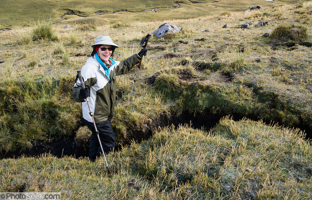 Are you feeling in a rut? Water has carved her trail too deep. Day 1 of 9 days trekking around the Cordillera Huayhuash, Andes Mountains, Peru, South America. For licensing options, please inquire.