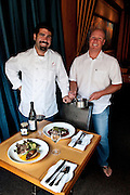 Dave Gee &  Ben Stenn, co-owners Oregon Growers & Shippers, makers of farm direct specialty foods by combining fresh, in-season produce and recipes that highlight the natural flavor of each ingredient. incorporate jams into recipes at Celilo restaurant, Hood River, Oregon