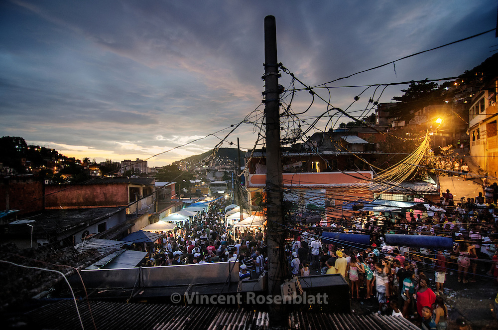 Early morning in the Baile Funk of the favela Arvore Seca, Complexo do Lins, Northern Area, Rio de Janeiro. <br /> In 2012, before the rise of the close &quot;Baile do Pist&atilde;o&quot;, Arvore Seca was one of the top Baile from Rio de Janeiro.