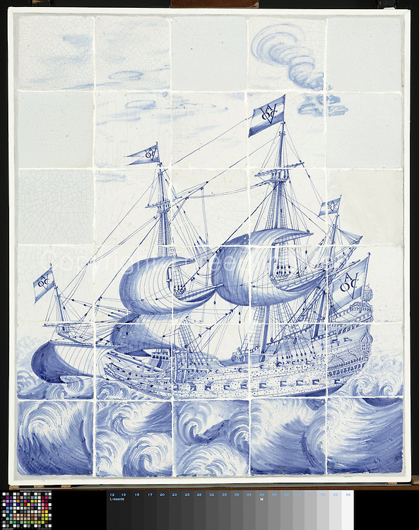 Tile panel of 30 tiles (6 x 5) with a blue painted ship with the flags marked by the East India Company, Chamber of Amsterdam VOC A.<br />