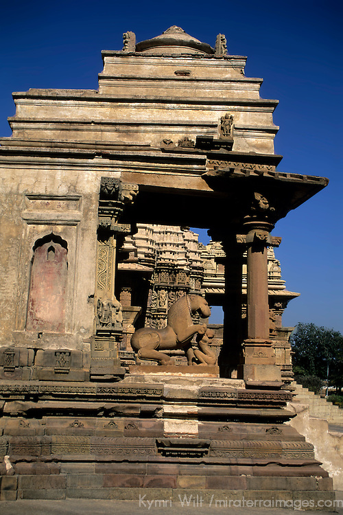 Asia, India, Khajuraho. Temple architecture at Khajuraho.