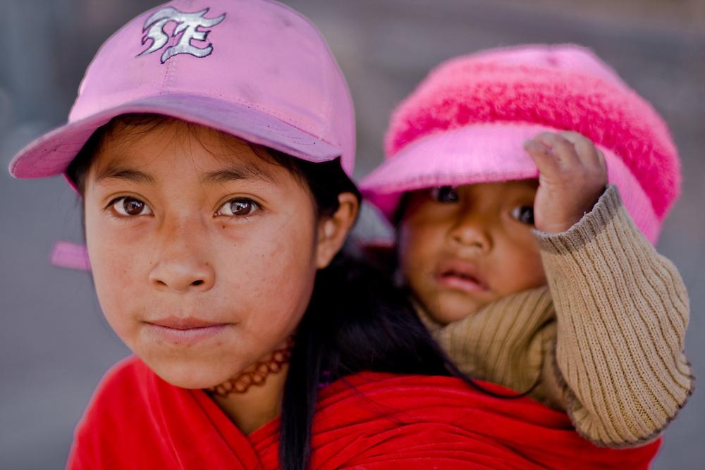 Girls in old town Quito, Ecuador