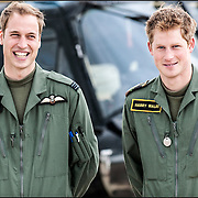 Prince William and Prince Harry and their Instructor at a photocall at RAF Shawbury Defence Helicopter Flying School.18th June 2009.