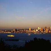 AA00010-01...WASHINGTON - A 1982 photo of sunset on Elliott Bay and the Seattle skyline from West Seattle.