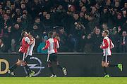 ROTTERDAM - Feyenoord - FC Groningen , Voetbal , Eredivisie , Seizoen 2016/2017 , Feijenoord stadion de Kuip , 11-02-2017 ,  Feyenoord speler Jens Toornstra (l) viert de 1-0 met Feyenoord speler Steven Berghuis (2e l)