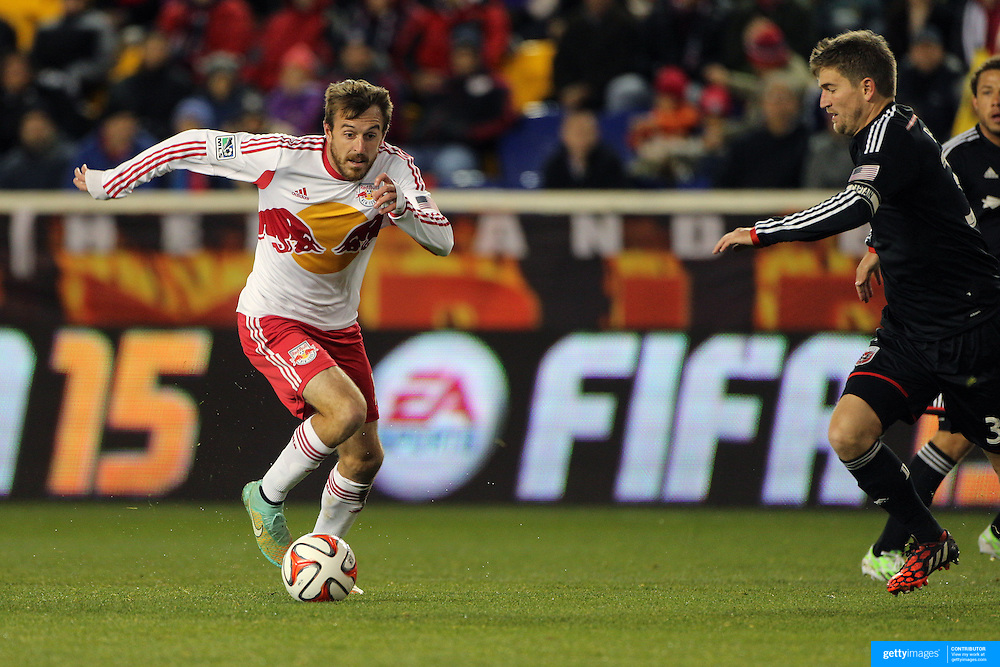 Eric Alexander, New York Red Bulls, in action during the New York Red Bulls V DC United, MLS Cup Playoffs, Eastern Conference Semifinals first leg at Red Bull Arena, Harrison, New Jersey. USA. 2nd November 2014. Photo Tim Clayton
