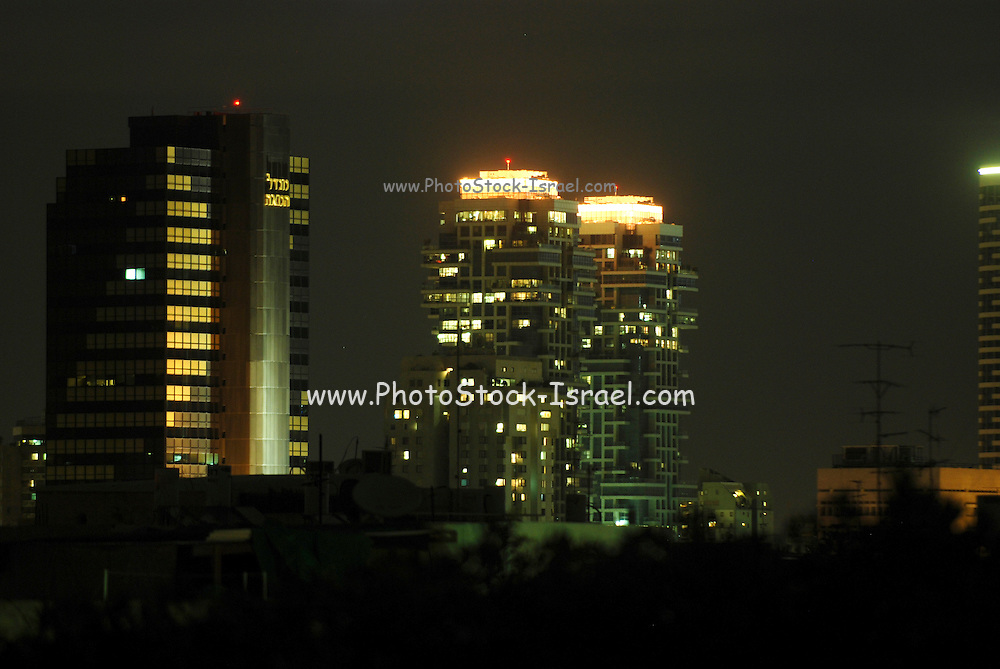 Israel, Tel Aviv, Night Shot. Century Tower on the left and Akirov Towers on the right February 2008