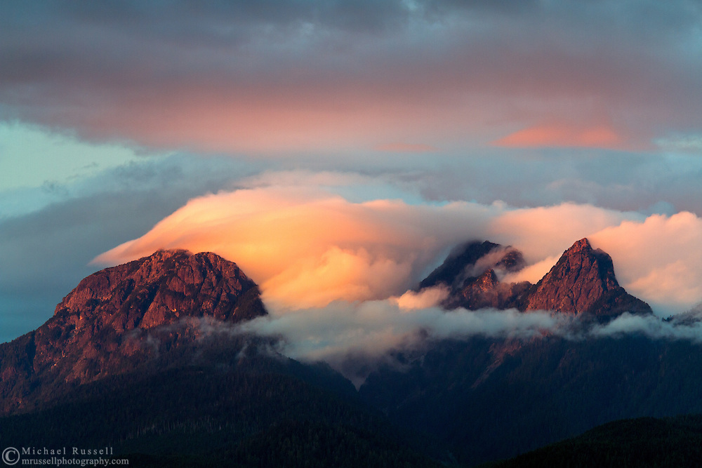 Clouds clear off the Golden Ears (Mount Blandshard) at sunset in the Coast Mountains of British Columbia, Canada