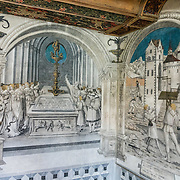 The Banqueting Hall was commissioned by David von Winkelsheim (1499-1525), the last Abbot of Saint George's. The mostly secular nature of the room's colorful historical frescos saved them from the iconoclasm of the Reformation in 1525. St. George's Abbey (Kloster Sankt Georgen) was founded around 1007 as a Benedictine monastery in Stein am Rhein village, on the banks of the Rhine at the western end of Lake Constance. The fascinating Klostermuseum is one of Switzerland's most important historic buildings from the late Middle Ages and early Renaissance, built in the 1300s to 1500s.