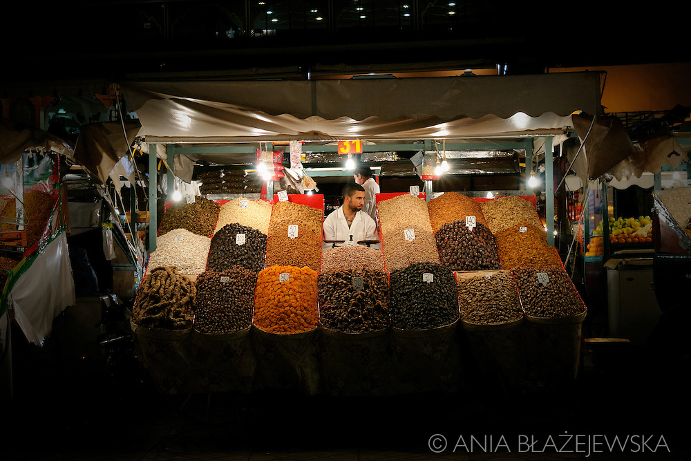 Morocco, Marrakesh. Dried fruits seller from Djemaa el-Fna Square.