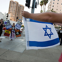 Members of the Westboro Baptist Church demonstrate in Los Angeles. Picketing in front of Sinai Temple.