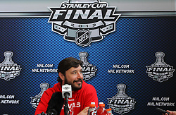 May 29; Newark, NJ, USA; New Jersey Devils left wing Ilya Kovalchuk (17) speaks to the media during Stanley Cup Finals media practice day at the Prudential Center.