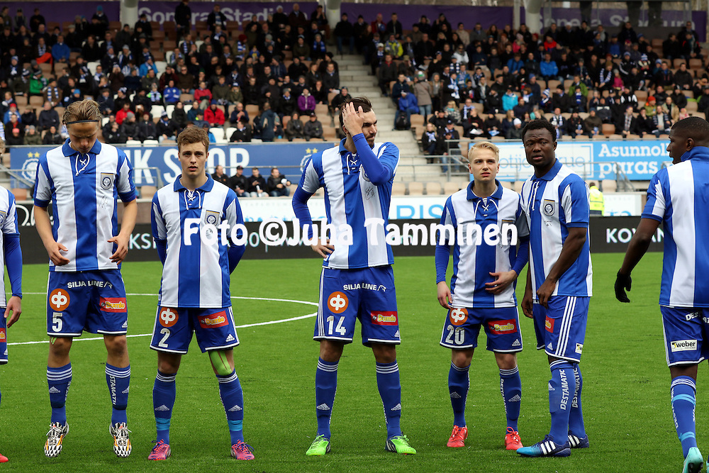 19.4.2015, Sonera stadion, Helsinki.<br /> Veikkausliiga 2015.<br /> Helsingin Jalkapalloklubi - FC Lahti..<br /> Tapio Heikkil&auml;, Alex Lehtinen, MIke Havenaar, Matti Klinga, Gideon Baah &amp; Guy Moussi - HJK