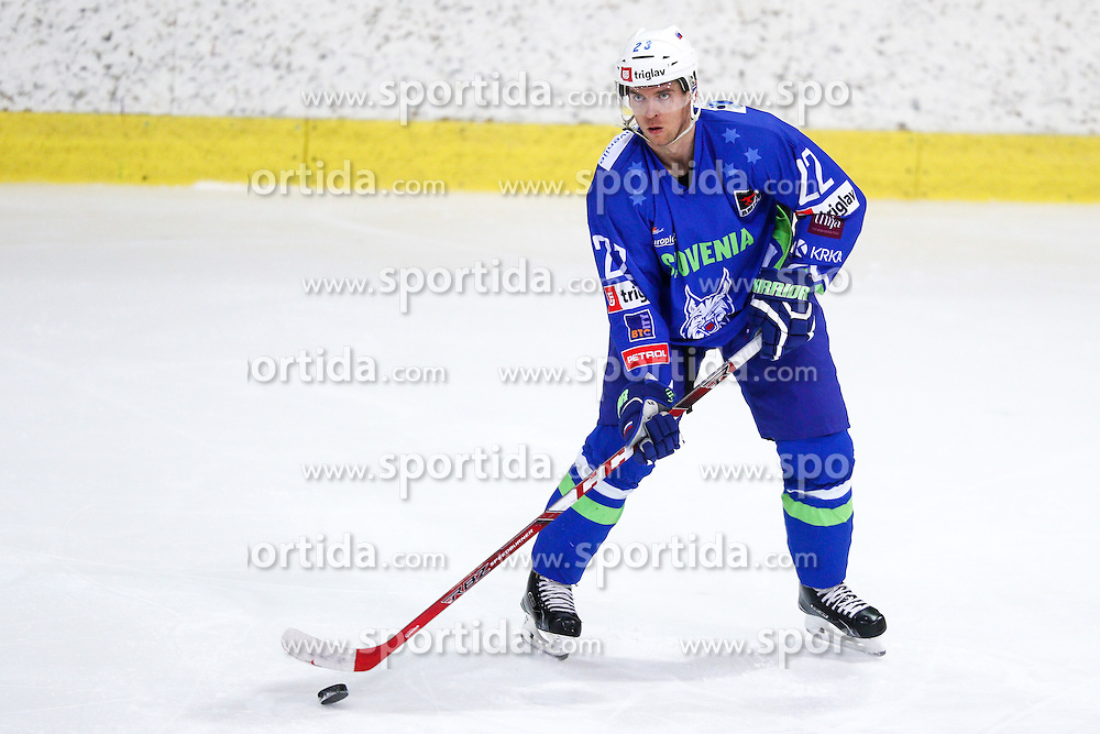 Luka Vidmar of Slovenia during friendly ice hockey match between Slovenia and Croatia, on April 12, 2016 in Ledena dvorana, Bled, Slovenia. Photo By Matic Klansek Velej / Sportida