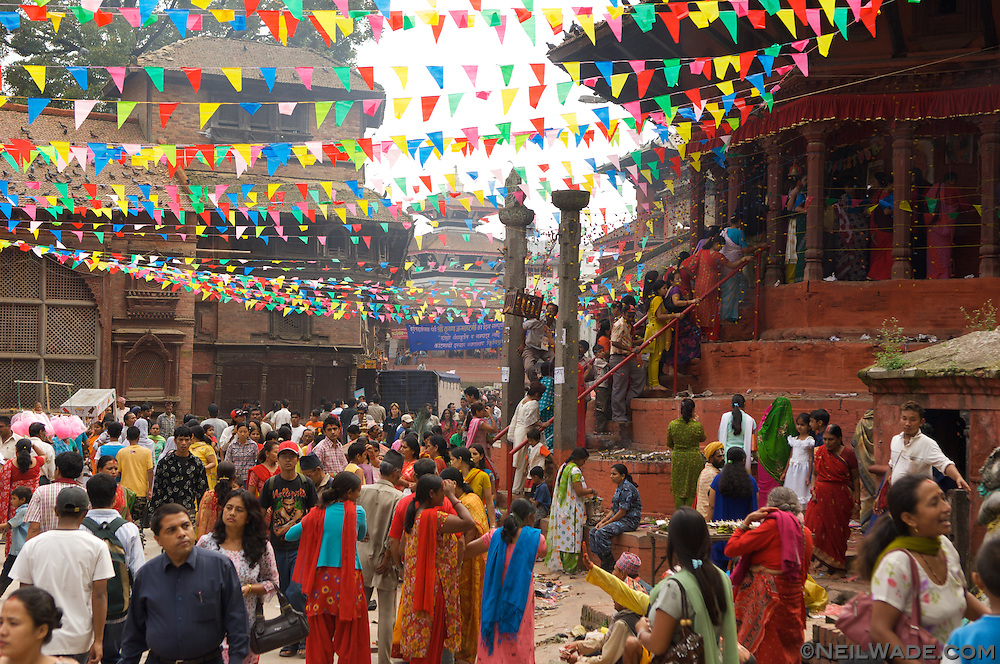 Durbar Square, Kathmandu during a Hindu festival celebrating the Hindu goddesses.