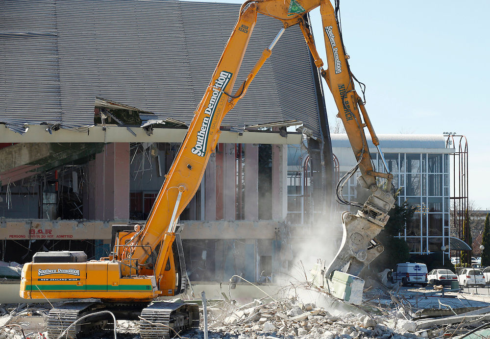 Demolition work on the Addington Public Grandstand damaged in the earthquakes, Christchurch, New Zealand, Friday, September 09, 2011.  Credit:SNPA / Pam Johnson