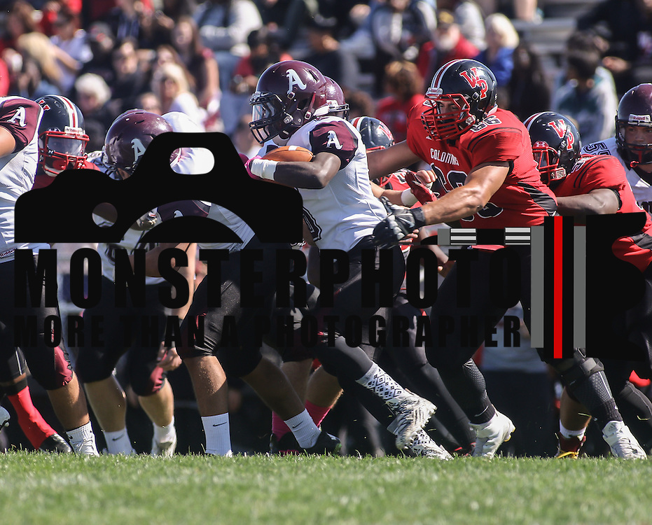 Appoquinimink Running back Derek Thompson (6) attempts to find a opening in the second quarter Saturday, Oct. 10, 2015 at Bill Cole Stadium in New Castle, DE.