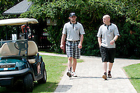 Anze Kopitar, ice hockey player for LA Kings, and Mitja Brgant at Anze's Eleven and SKB Charity Golf Tournament, on June 11, 2011 in Golf court Bled, Slovenia. (Photo by Matic Klansek Velej / Sportida)