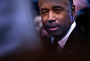 Republican presidential candidate retired neurosurgeon Ben Carson speaks with the media in the Spin Room following the Republican Presidential Debate, hosted by CNN, at The Venetian Las Vegas on December 15, 2015 in Las Vegas, Nevada.   AFP PHOTO / L.E. BASKOW