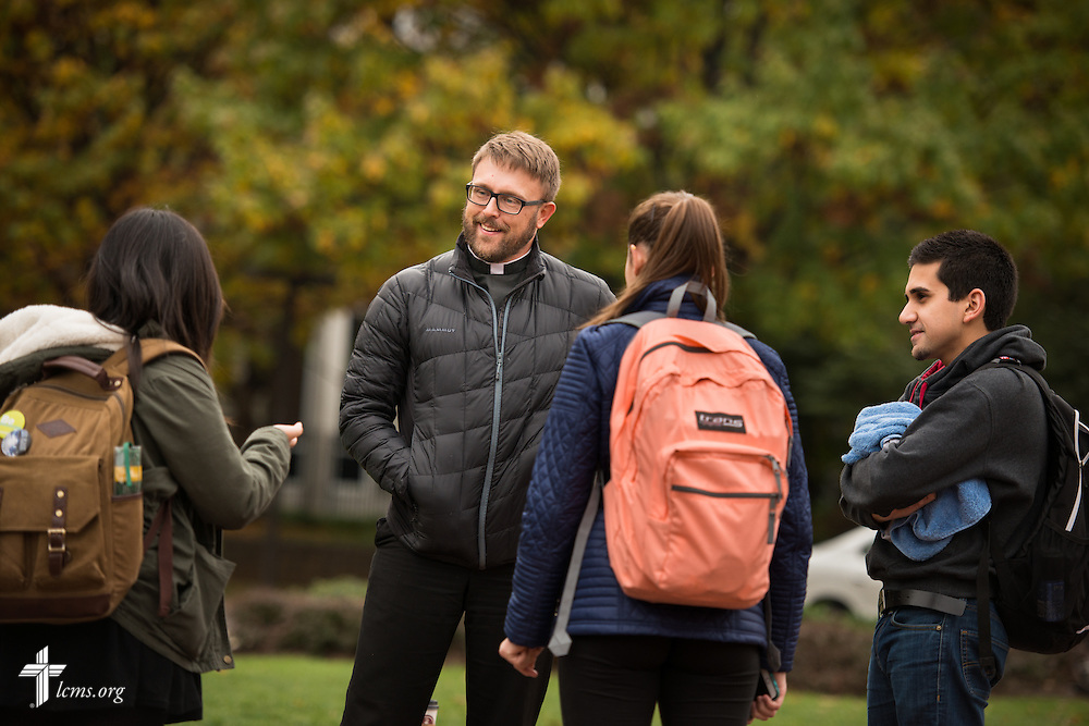 The Rev. Adam DeGroot, new national missionary and pastor at Shepherd of the City Lutheran Church,talks to students at Temple University on Monday, Nov. 2, 2015, in Philadelphia.  LCMS Communications/Erik M. Lunsford