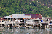 Side elevation of wooden stilt house in the Water Village, Kampung Buli Sim Sim, Sandakan, Sabah