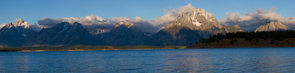 Panorama of Jackson Lake and the Teton Mountains in Grand Teton National Park