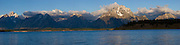 Panorama of Jackson Lake and the Teton Mountains in Grand Teton National Park