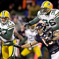 .Green Bay Packers' Sam Shields intercepted a Chicago Bears' Caleb Hanie pass intended for Chicago Bears' Johnny Knox late in the 4th quarter. This ended the Bears come back hopes. .The Green Bay Packers traveled to Soldier Field in Chicago to play the Chicago Bears in the NFC Championship Sunday January 23, 2011. Steve Apps-State Journal.