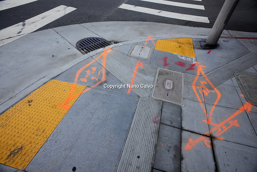 Marks painted on street floor, San Francisco, California.