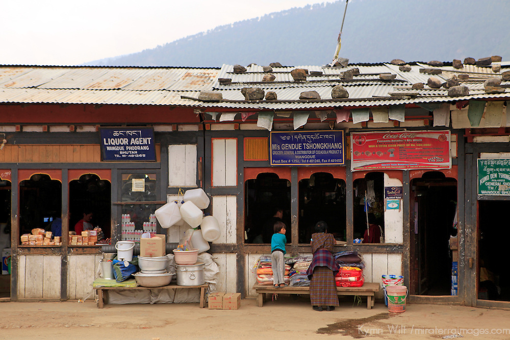 Asia, Bhutan, Wengdue. Market street scene in the village of Wengdue, Bhutan.