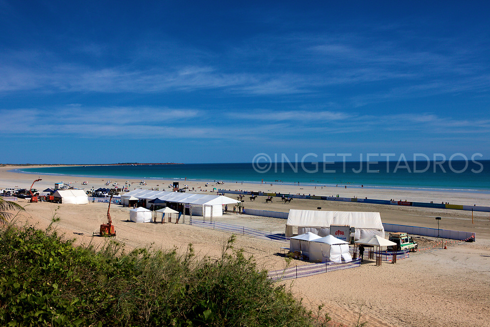 The Polo tent and event-area now under construction at Cable Beach, where the event will be held on Saturday 30 May and Sunday 31 May 2015. Cable Beach is famous for it's spectacular sunsets. Cable Beach is a 22 kilometres stretch of beach near Broome, Western Australia. Cable Beach was named after the telegraph cable laid between Broome and Java in 1889. Broome, WA