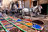Horse-drawn carriage brings tourists past spice stand in ancient bazaar, Luxor, Egypt