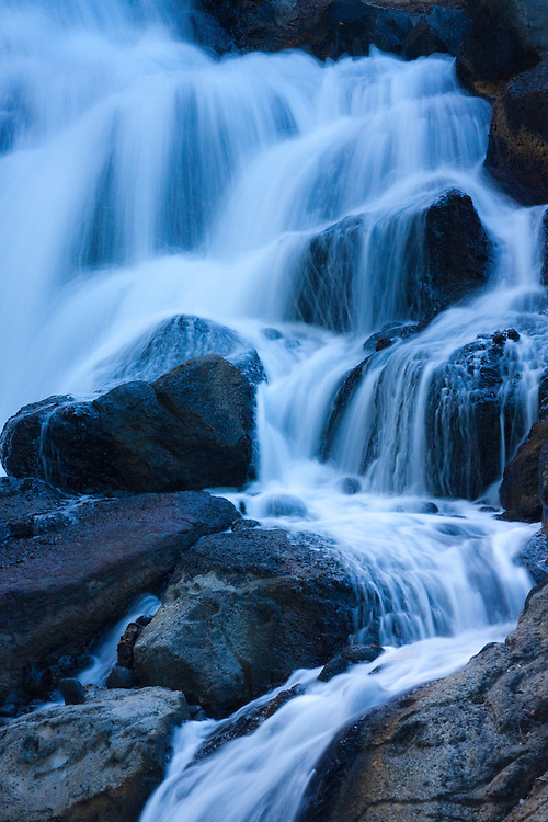 Waterfall cascades over rocks