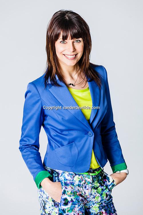 Brussel, Belgie 2013 24 januari, Topondernemer is een nieuw televisieprogramma van de VRT. Portretten van de  presentatrice Evy Gruyaert.